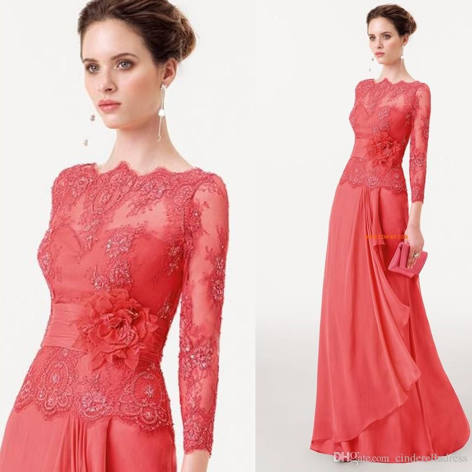 Click to buy ucuc hot sale coral mother of the bride lace dresses