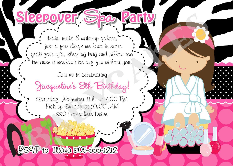 Sleepover Spa Party invitation invite spa sleepover invitation ...