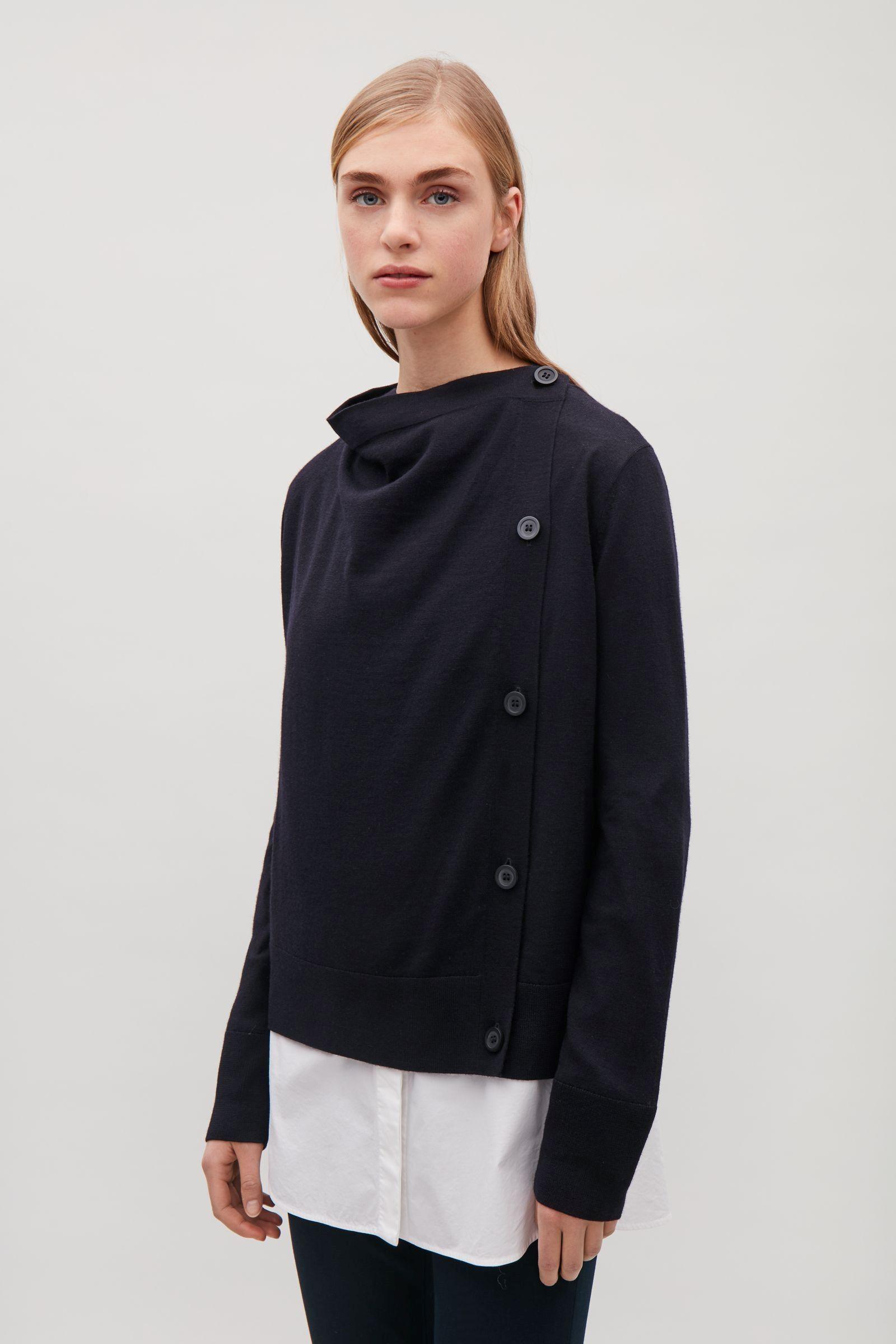 3bb92257262 COS image 7 of Draped merino-wool cardigan in Navy   wardrobe lust ...