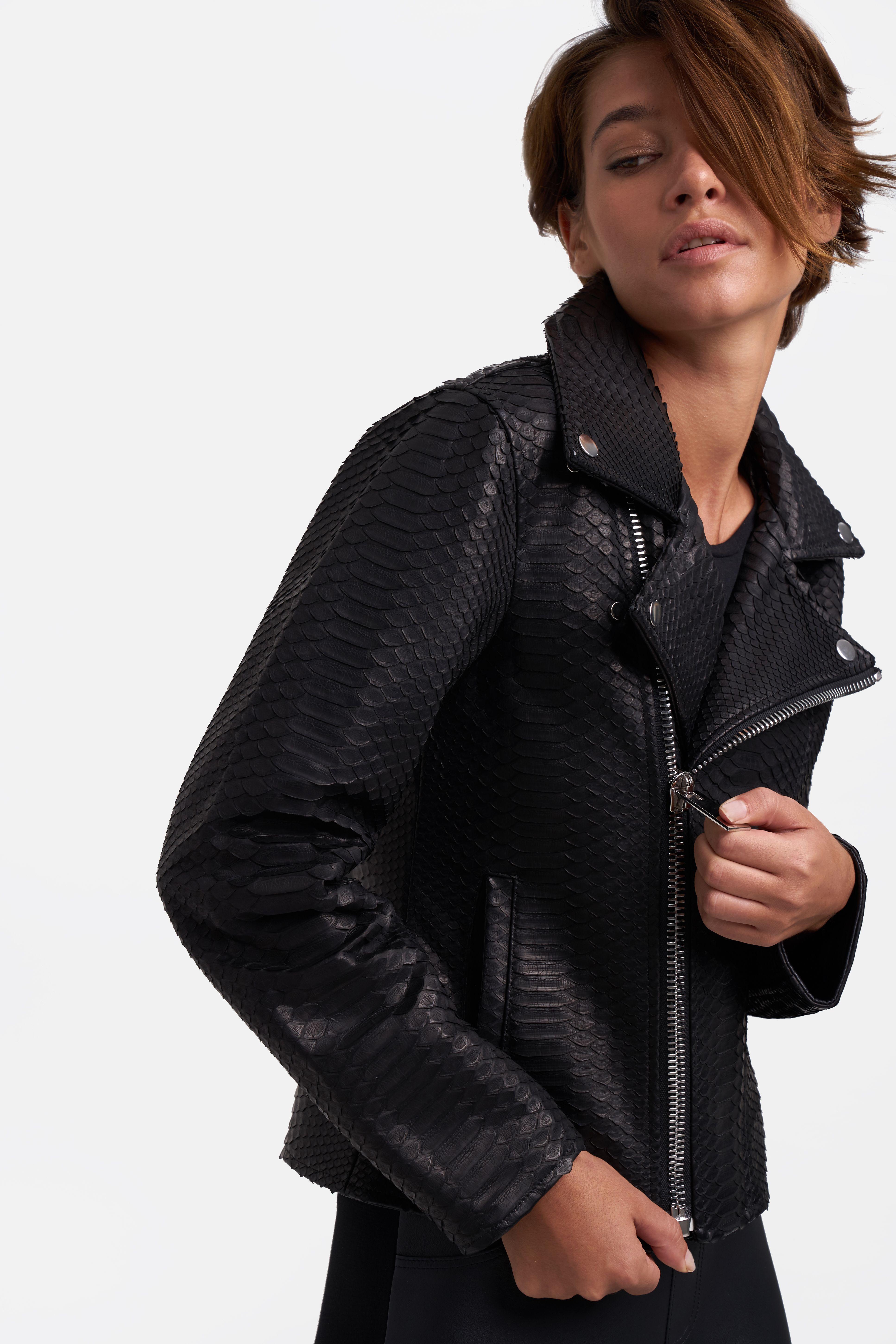 2a03a035 Black jack | WOMEN PYTHON JACKETS | Jackets, Leather, Leather Jacket