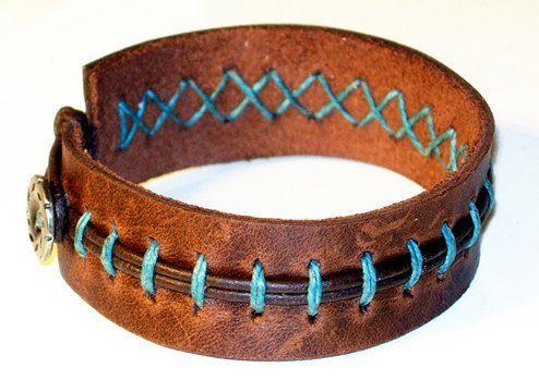 Photo of Items similar to Leather stitched Bracelet on Etsy