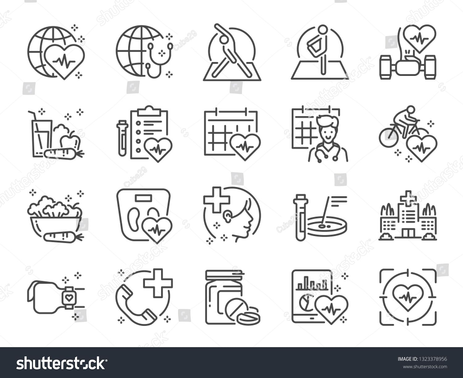 Global Healthcare Line Icon Set Included Icons As Exercise