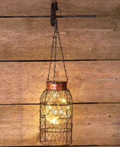 Rustic Chicken Wire Wall Lantern Solar Light Farmhouse Outdoor Hanging Lighting Hanging Solar Lights Solar Lanterns Hanging Lights