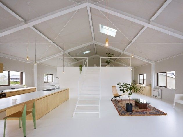 roof structure + kitchen bench to dining / desk space