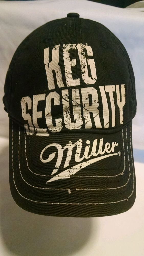 c26df508a7d Miller Beer Keg Security Cap Hat Blue Snapback Well Worn