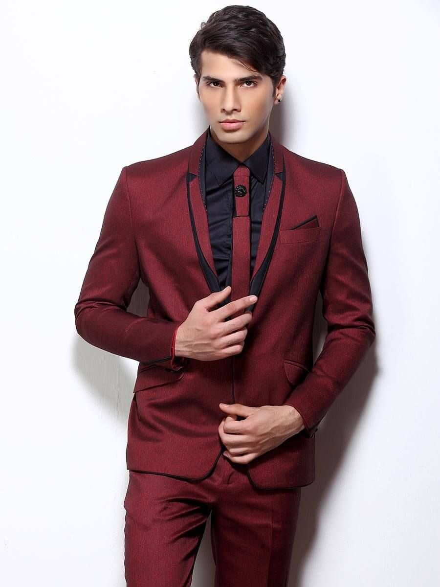 Mens 2 Button Style Suit Burgundy ~ Maroon ~ Wine Color flat front ...