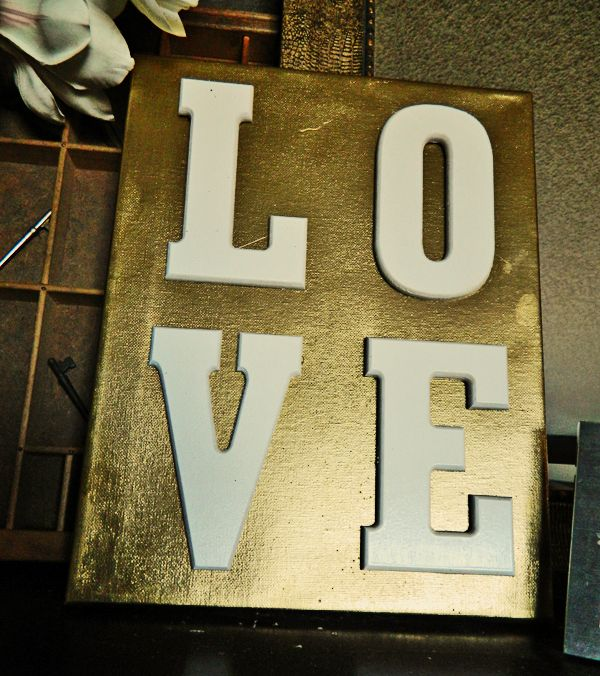 DIY Gold Art Love Sign