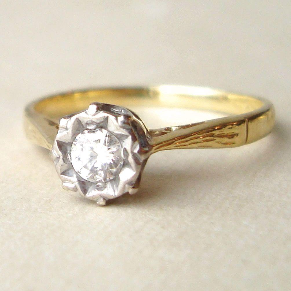 Vintage Engagement Ring, 1950s Solitaire 15 Carat Diamond Ring,18k Gold  Ring Size Us 725, Vintage Wedding Ring