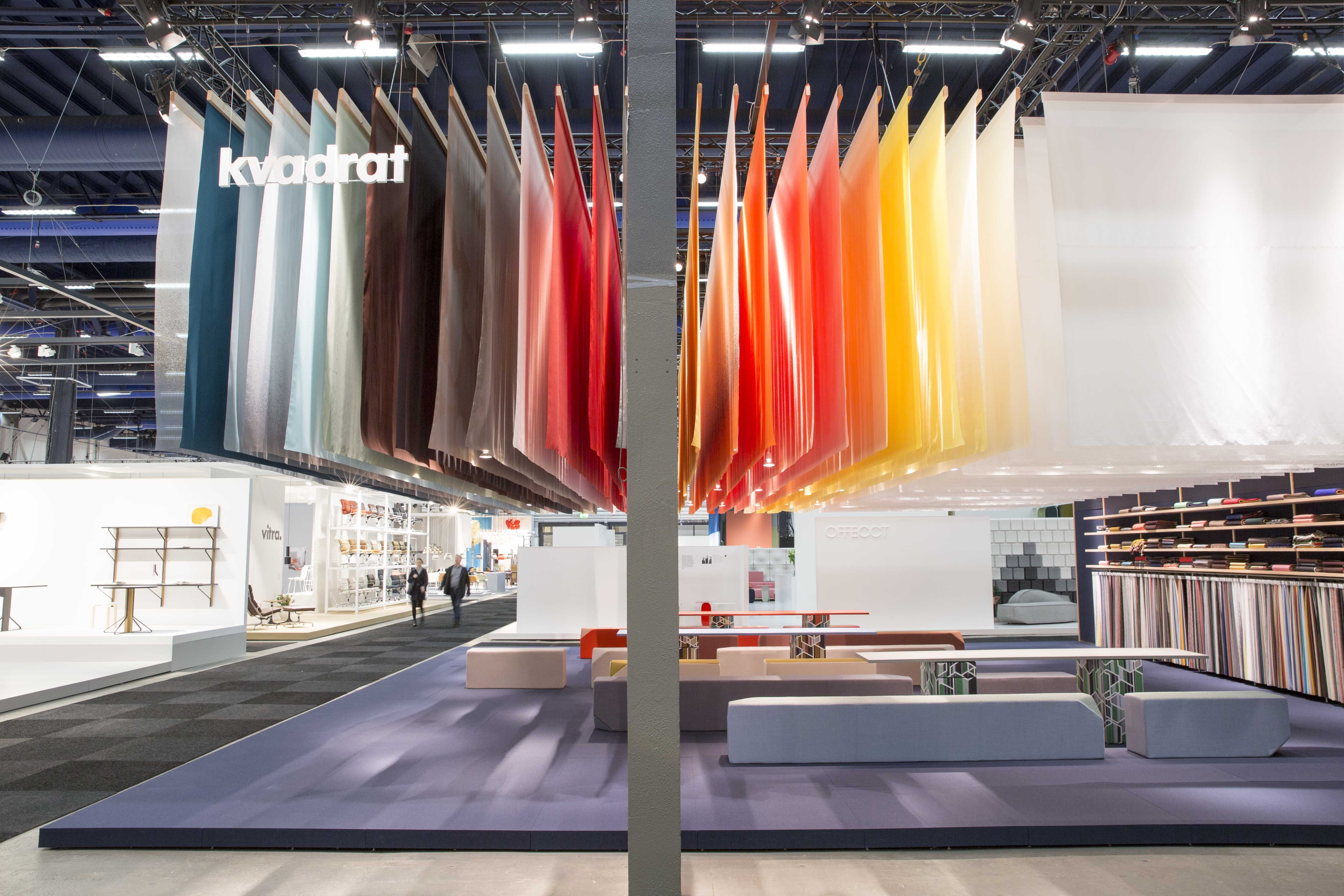 Textile Exhibition Stand Design : A colourful textile sky at the kvadrat stand during