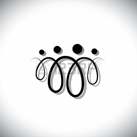 18689980 Family Of Four People Abstract Symbols Icons Using Line