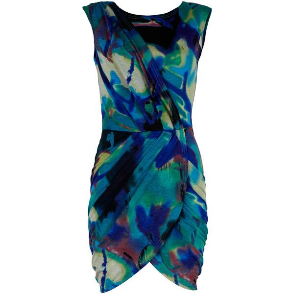 Abstract Print Cross Front Dress (1.675 RUB) ❤ liked on Polyvore featuring dresses, haljine, women, abstract print dress, watercolor dress, blue draped dress, abstract watercolor print dress and watercolor print dress