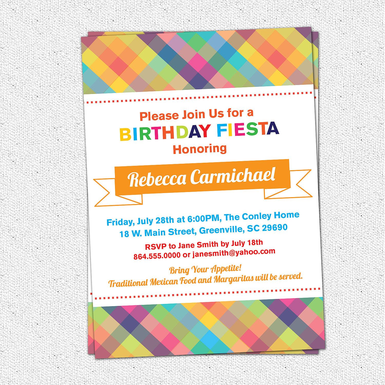 Printable Fiesta Birthday Party Invitation, Rehearsal Dinner ...