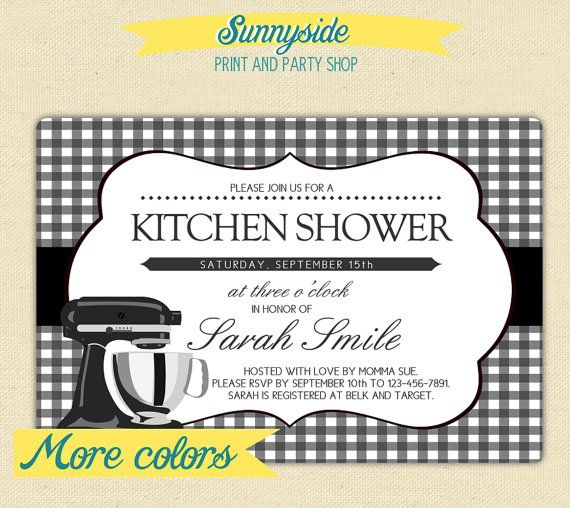 KITCHEN SHOWER Bridal Shower Invite / Invitation With Matching Recipe Card    You Choose Colors