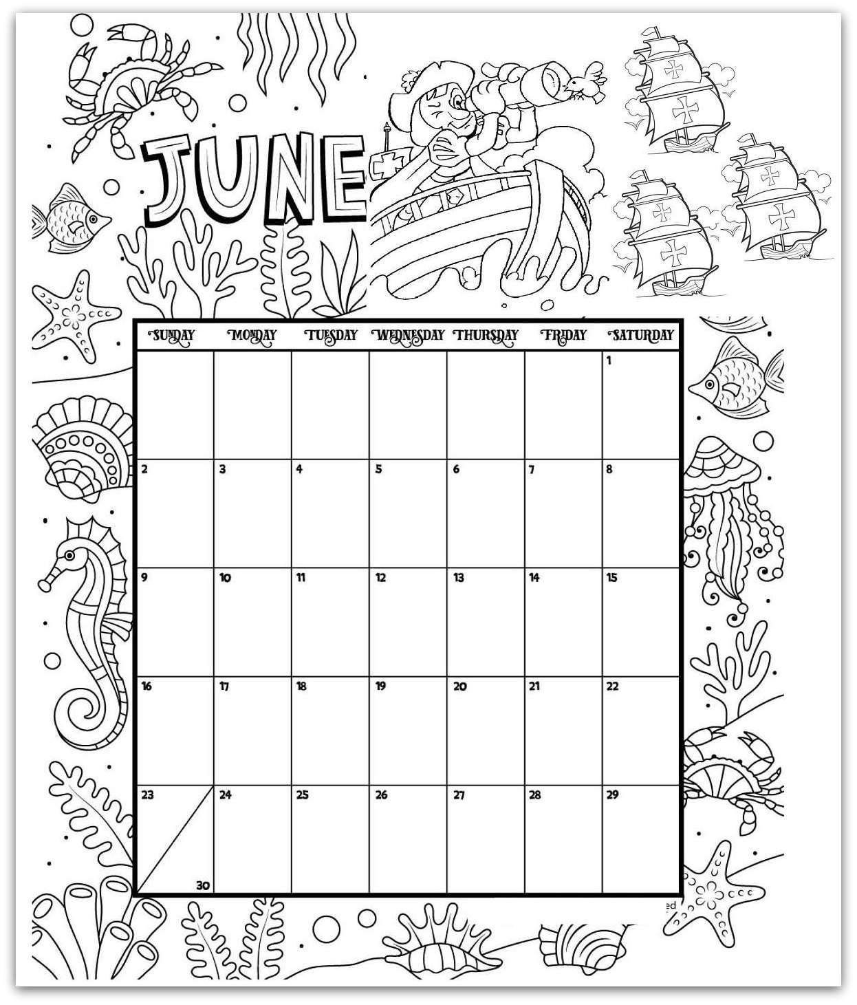 June Coloring Page Printable Calendar