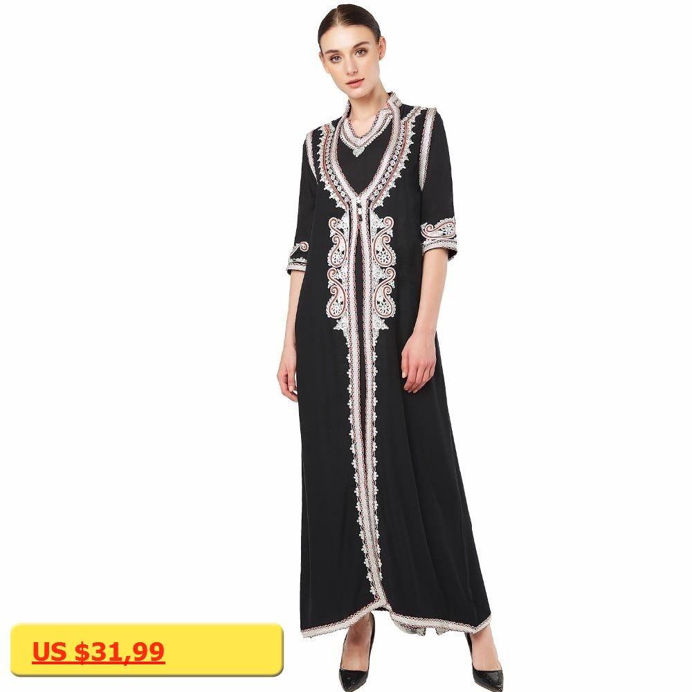 Women islamic clothing maxi long sleeve dress moroccan kaftan caftan