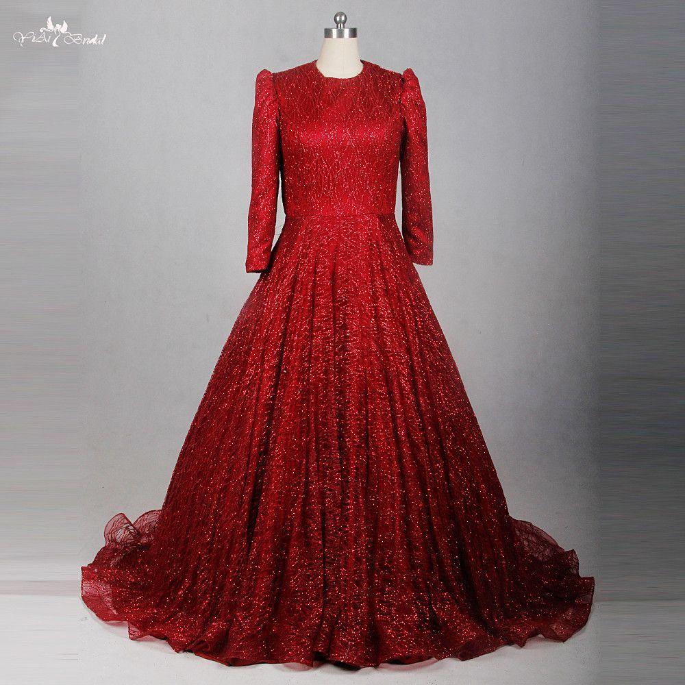Rse red glitter shine sequin long sleeve muslim evening dress