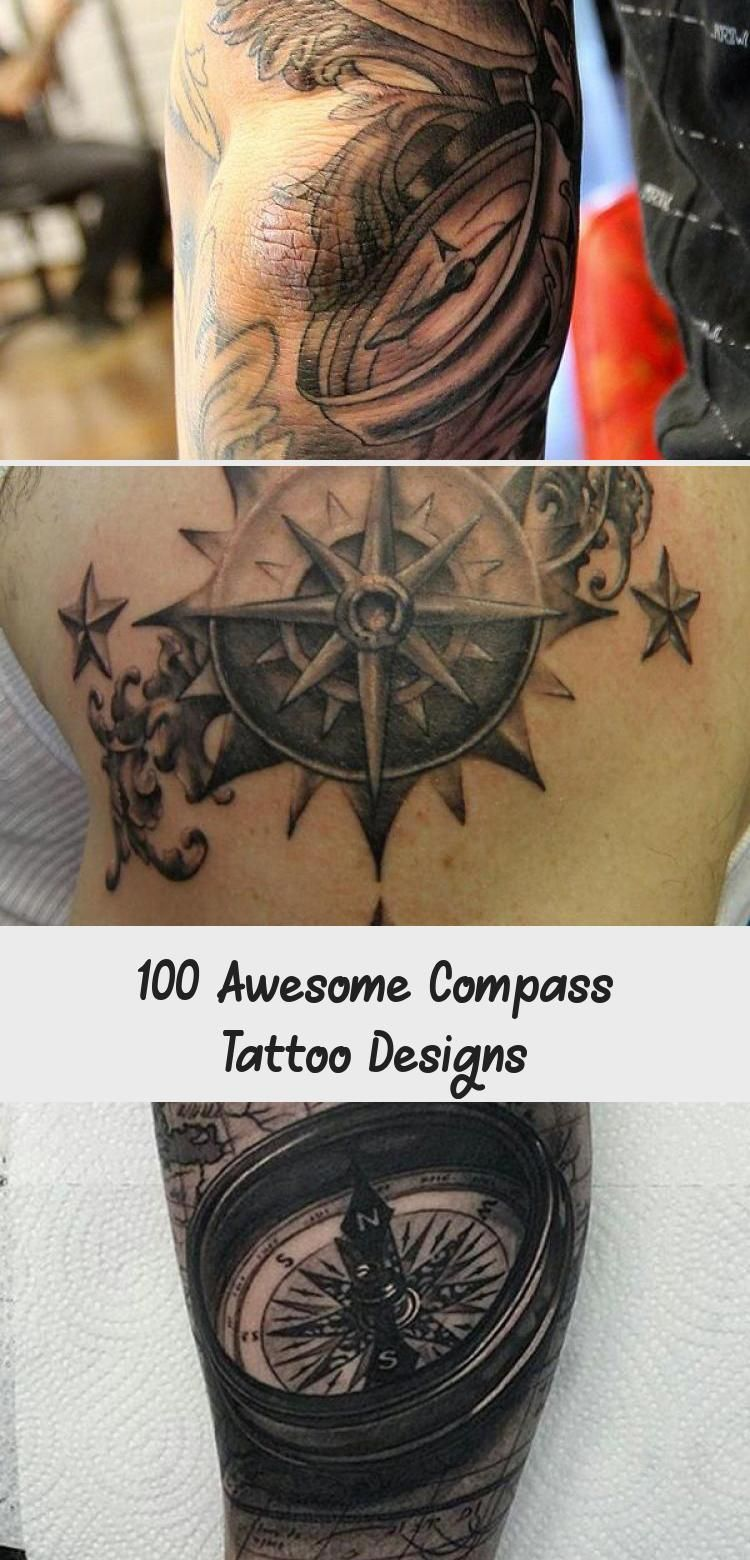 Photo of Watercolor compass back tattoo for women – 100 Awesome Compass Tattoo Designs …