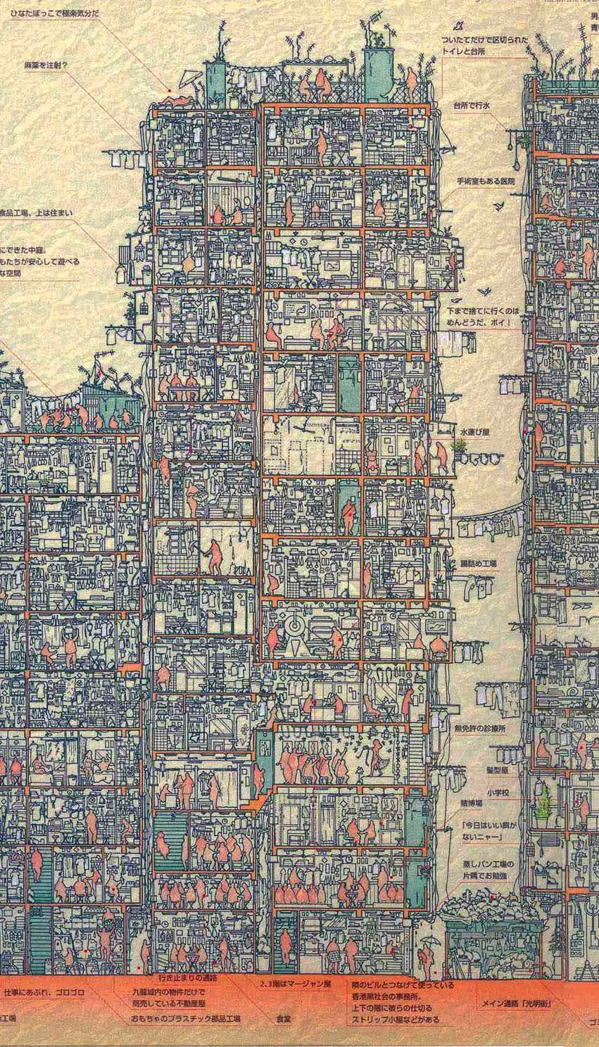 Kowloon Walled City cross section architecture without architects http://www.hongkongbuzz.com/must-see/kowloon-city-walled-park/