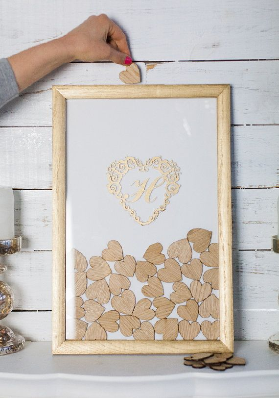 Heart Guest Book Gold frame and white background by Slandonezia ...