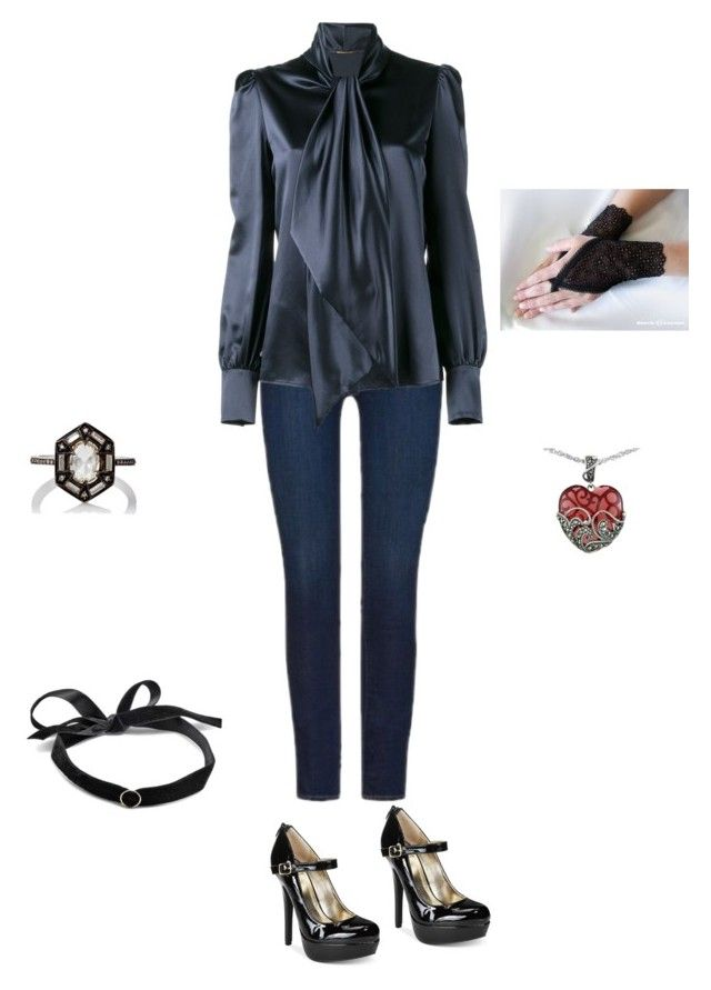 """""""Untitled #89"""" by autumn-baxter on Polyvore featuring 7 For All Mankind, Yves Saint Laurent, Mateo, Material Girl, Cathy Waterman and Lord & Taylor"""