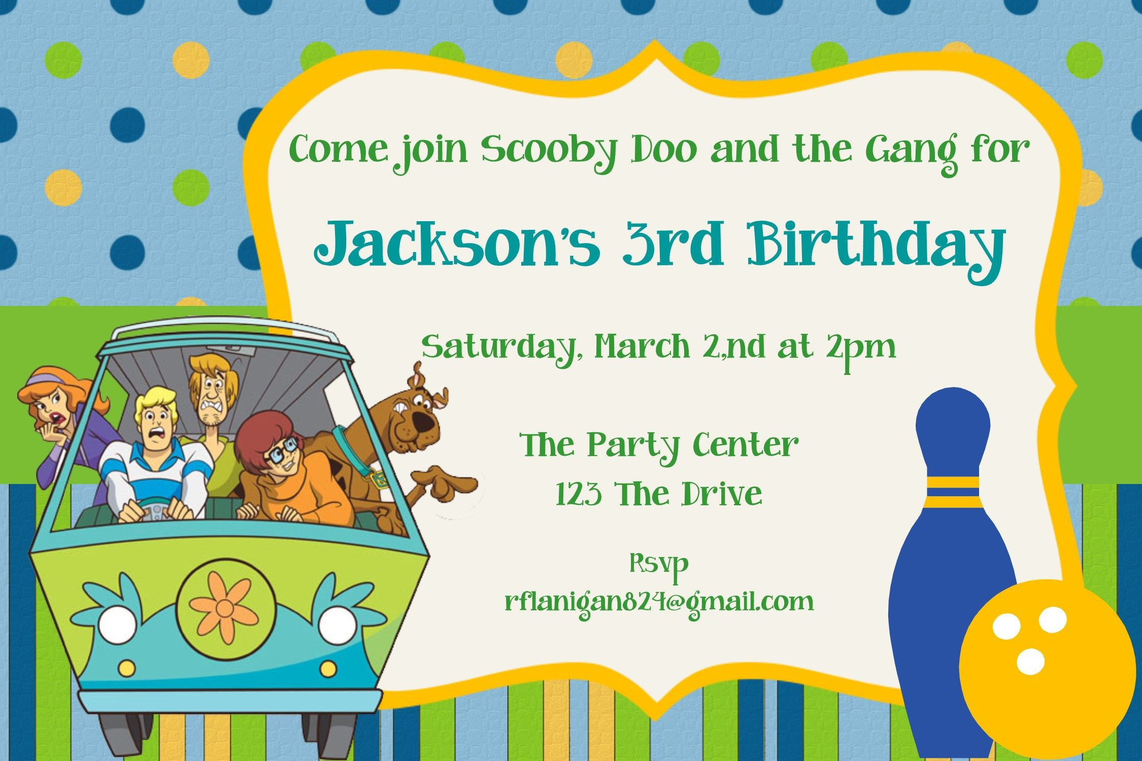 Girls or Boys Scooby Doo Bowling Printable Birthday Party Invitation ...