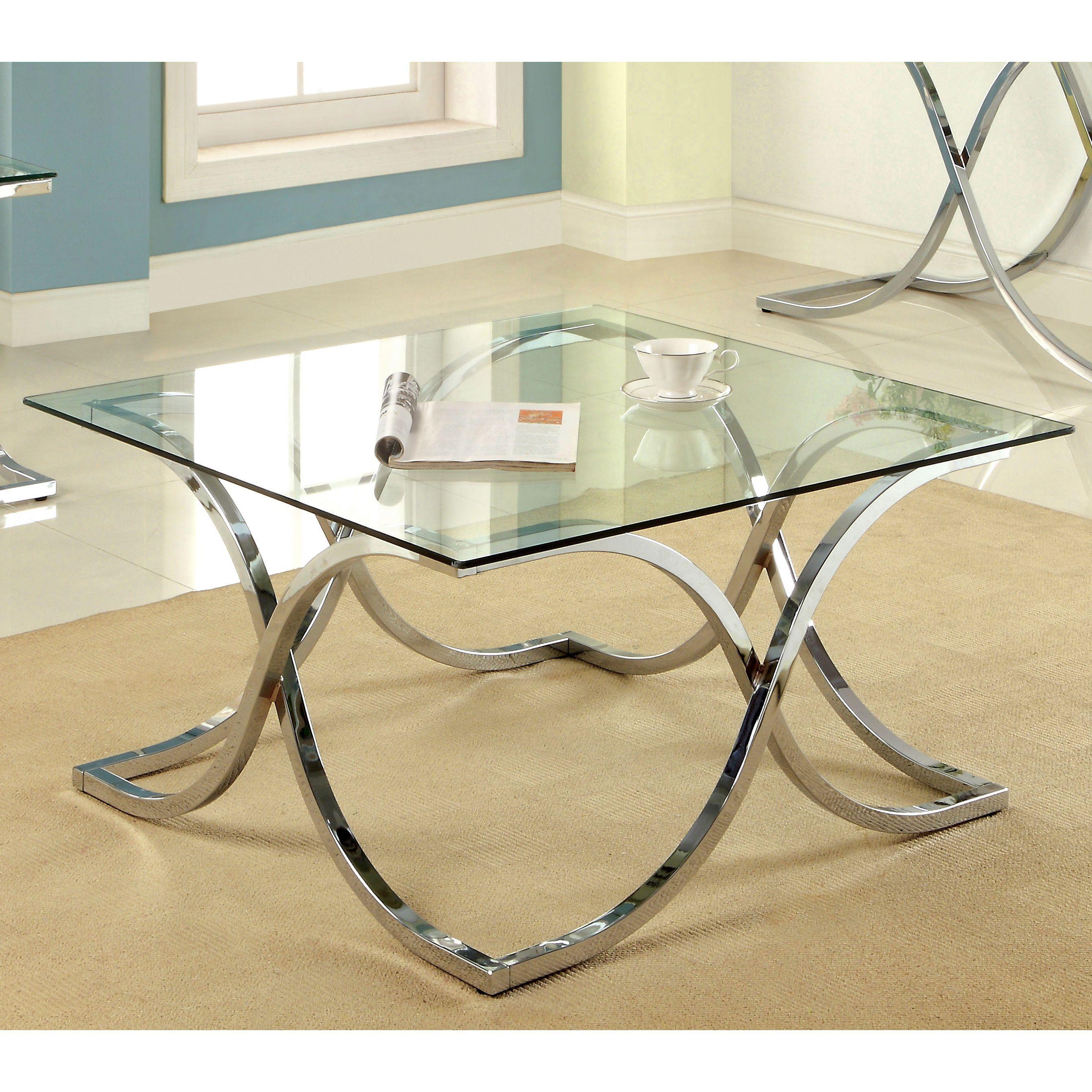 Harper Glass Coffee Table Set Contemporary Black Chrome Color