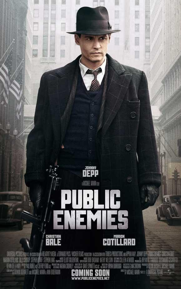 Public Enemies 27x40 Movie Poster 2009 Public Enemy Gangster Movies Johnny Depp