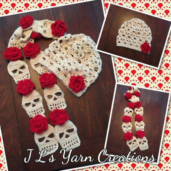 Sugar skull crochet scarf and hat. I love these!! | For the love of ...
