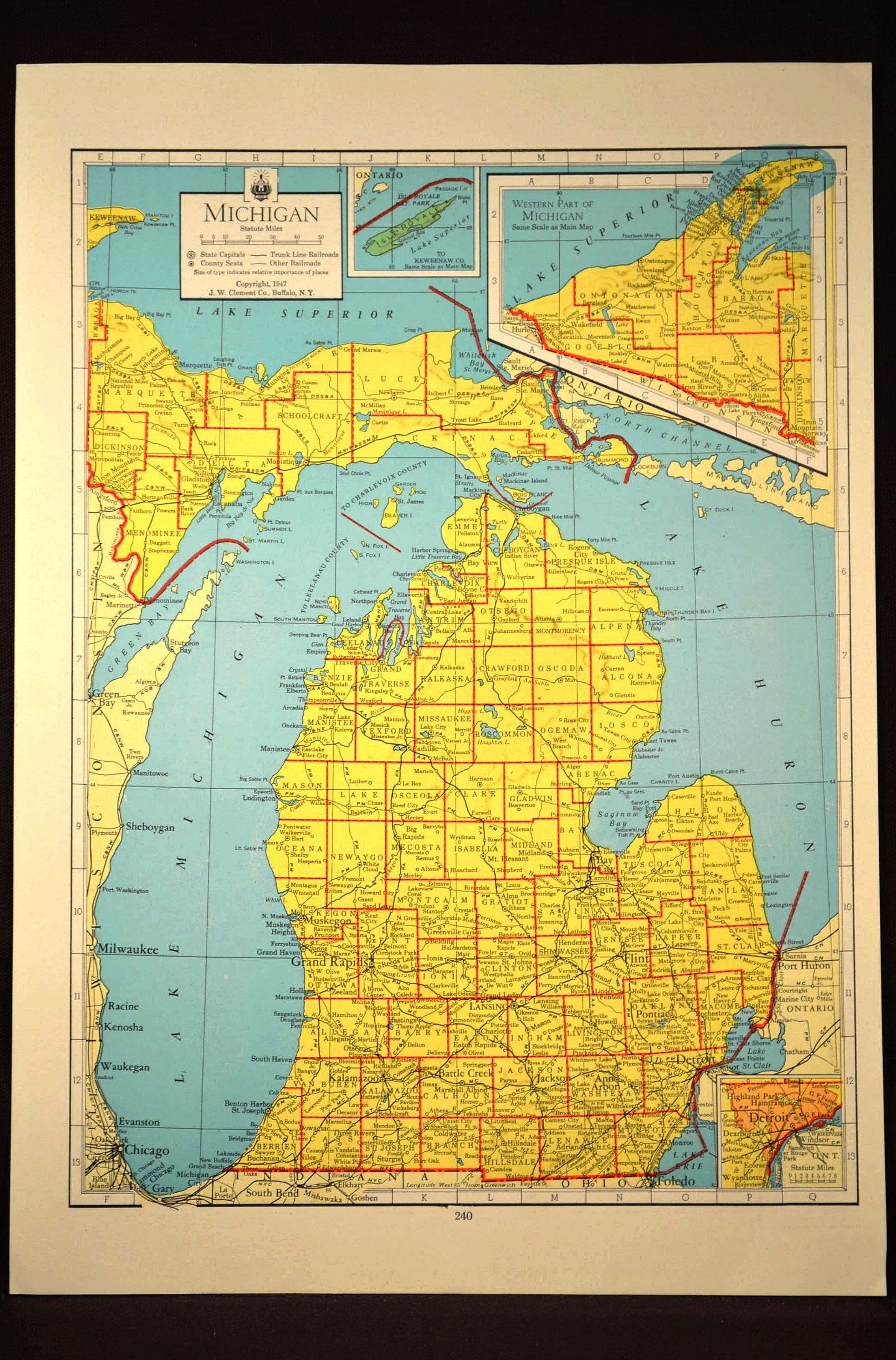 Colorful Yellow Vintage Michigan Map Michigan Wall Art Colored ...