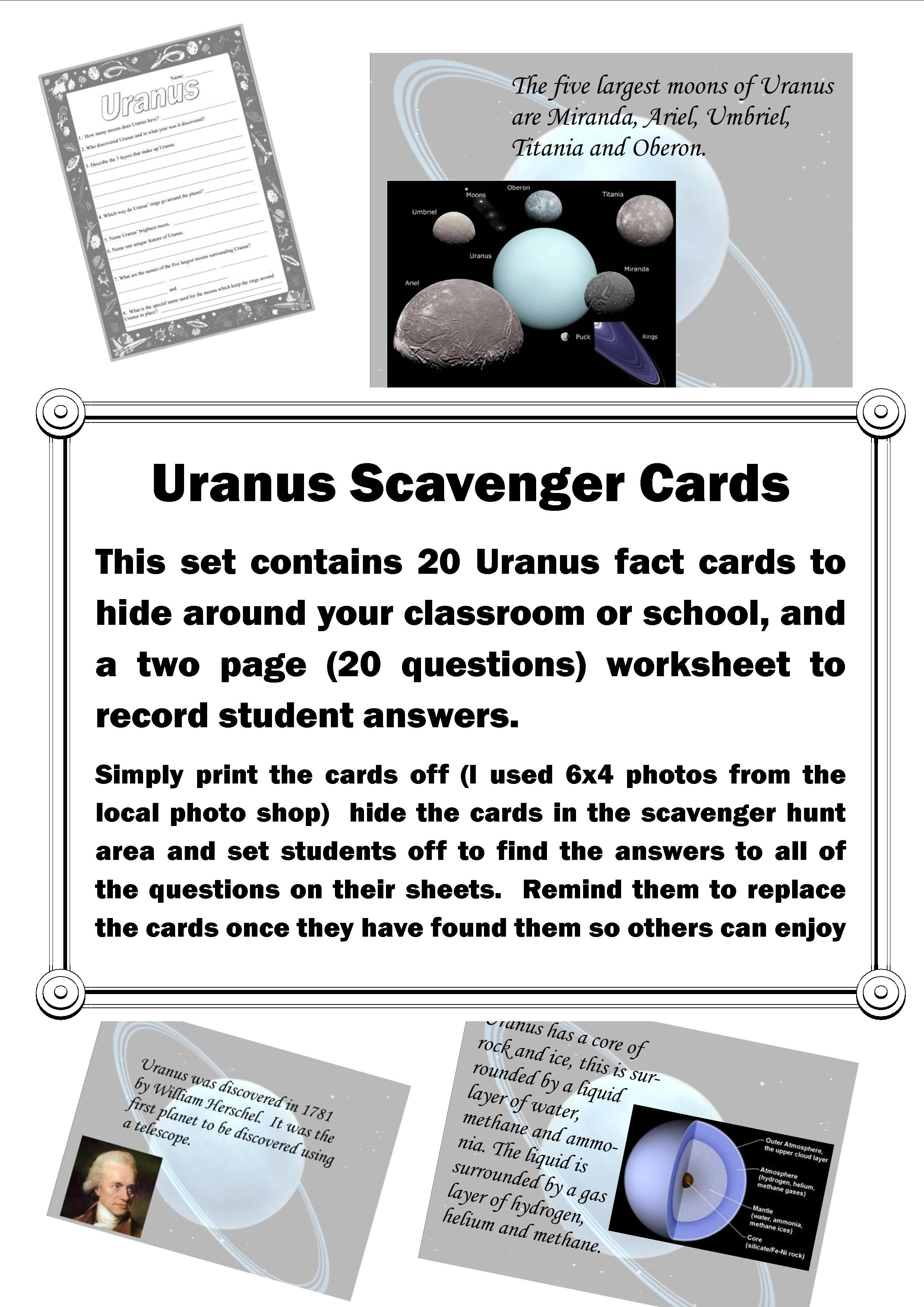 This Set Contains 20 Scavenger Hunt Cards With Facts About