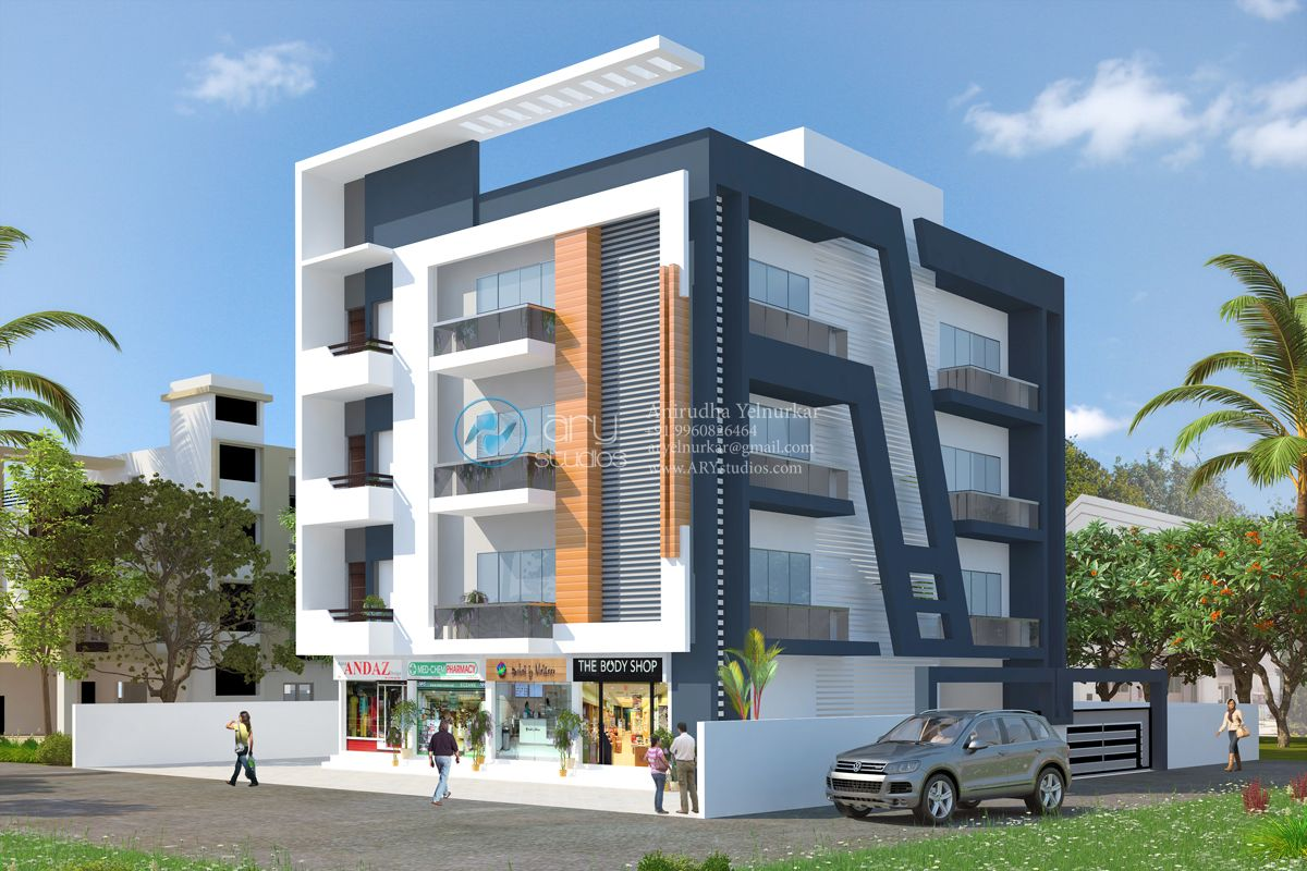 We render your dream arystudios modern condo buildings for Contemporary building elevation