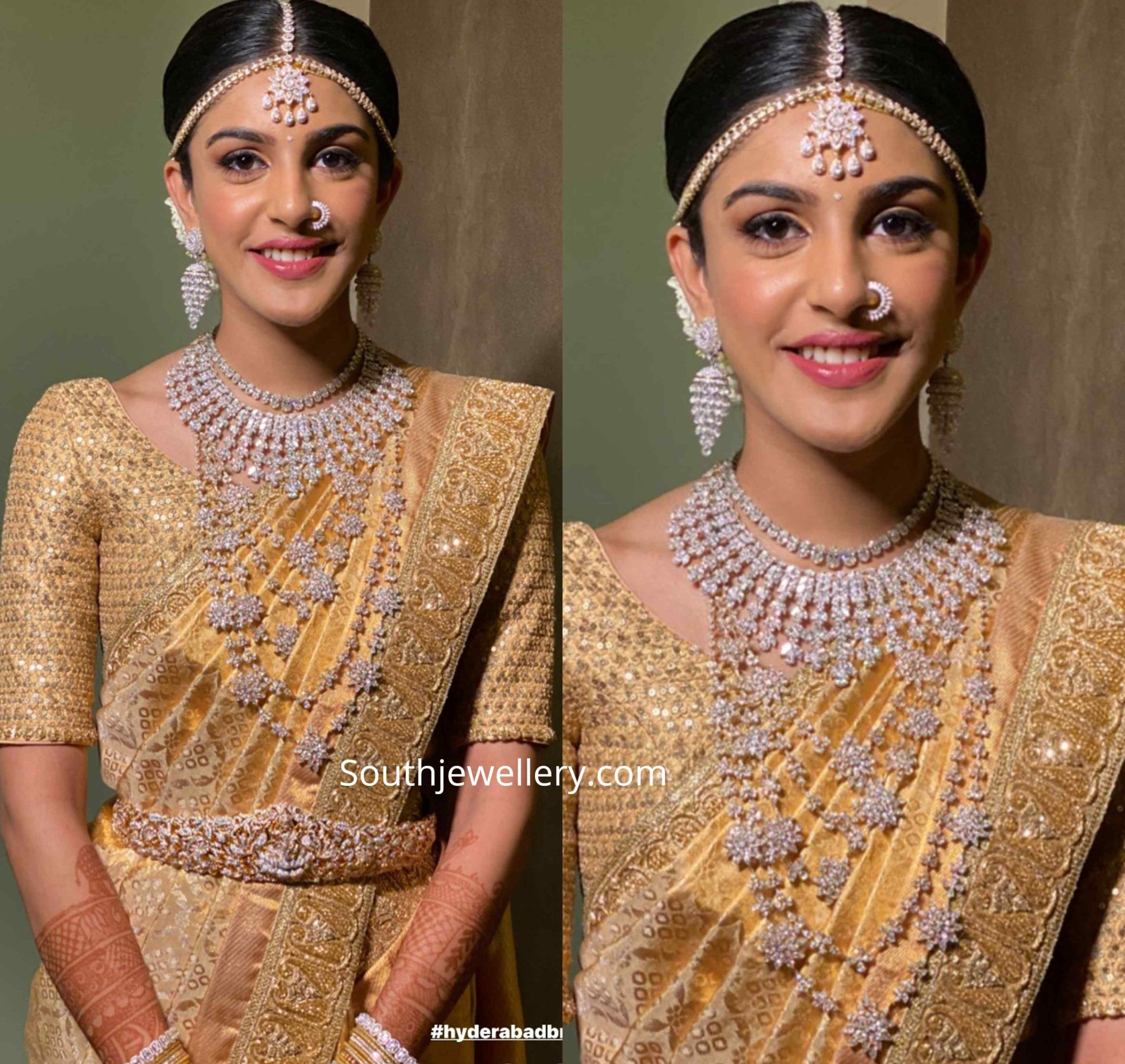 Photo of South Indian Bride in elegant wedding jewellery.  She adorned a diamond necklac…