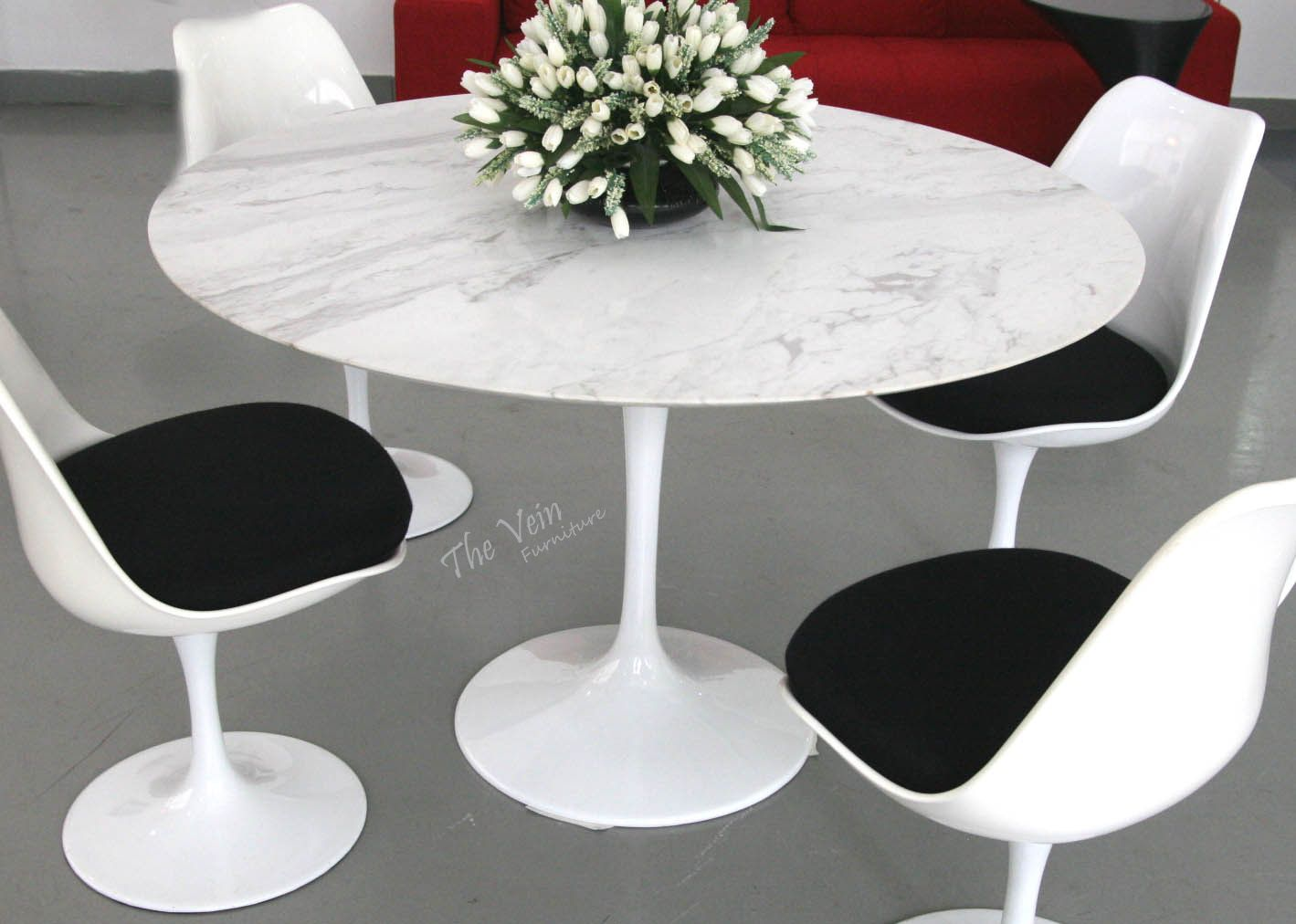 Tulip Table With Mable Top 1956 Tulip Round Dining Table  Fiberglass Top  Designer: Eero