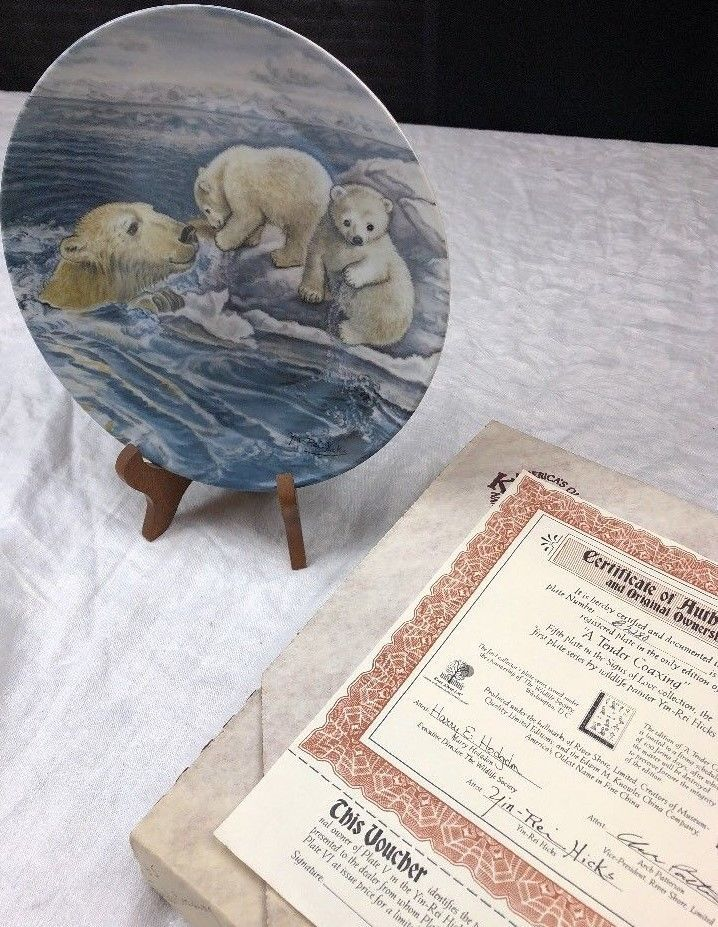 KNOWLES COLLECTOR PLATE ANIMAL POLAR BEAR BOX COA & Knowles collector plate animal polar bear box coa | Polar bear ...