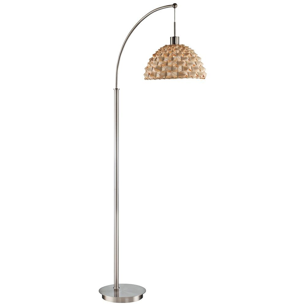 Lite Source Winston Polished Steel And Bamboo Arc Floor Lamp Style 1y342