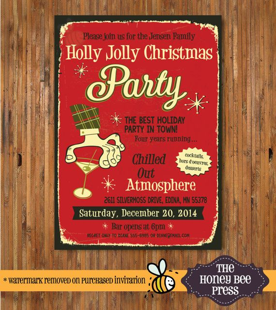 Ugly Sweater Holiday Party Invitation - Retro Christmas Cocktail
