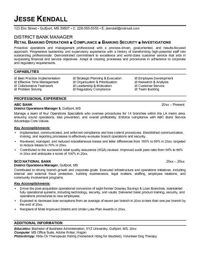 Banking Executive Manager Resume Template Job resume