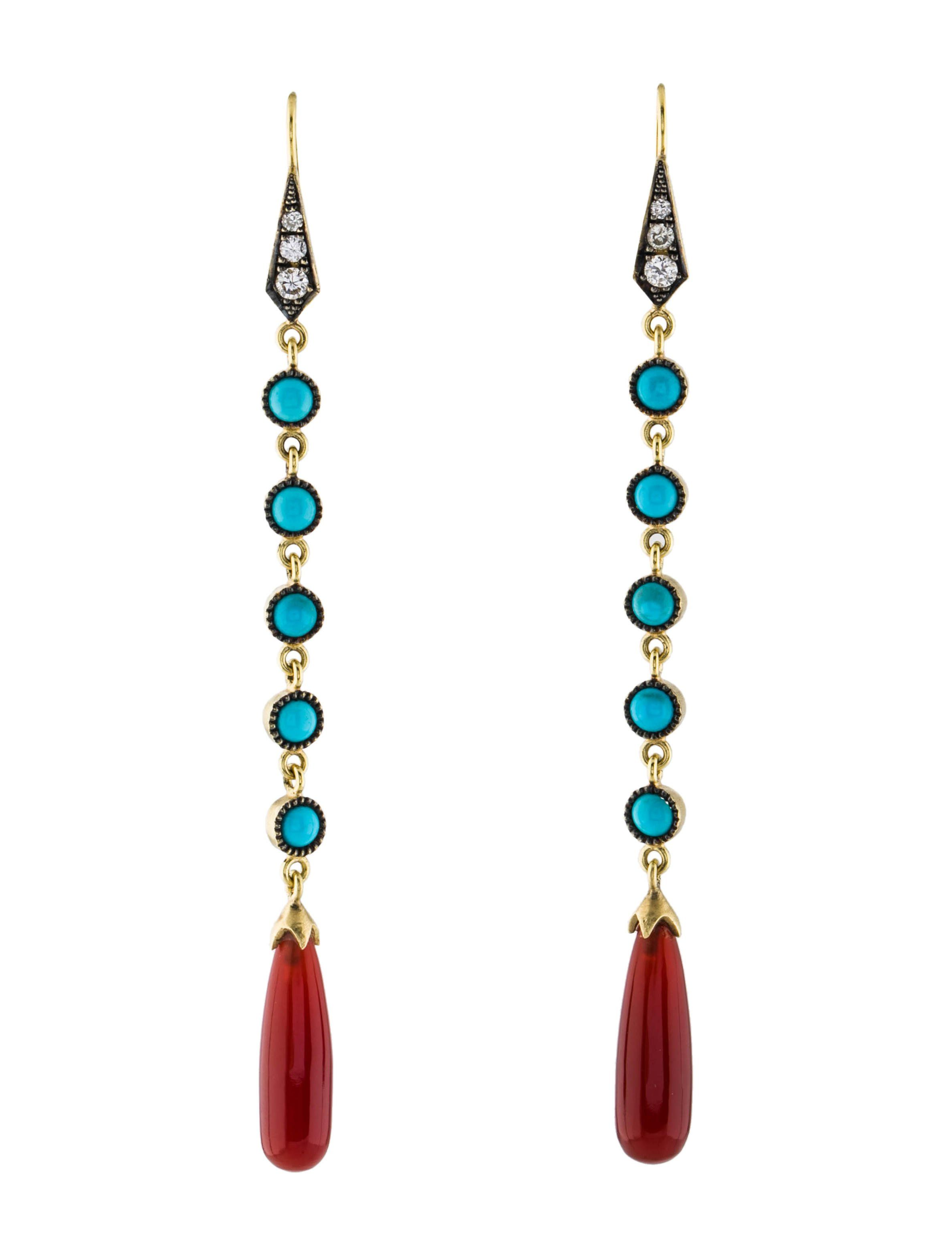 Gold drop with canelian /& turquoise