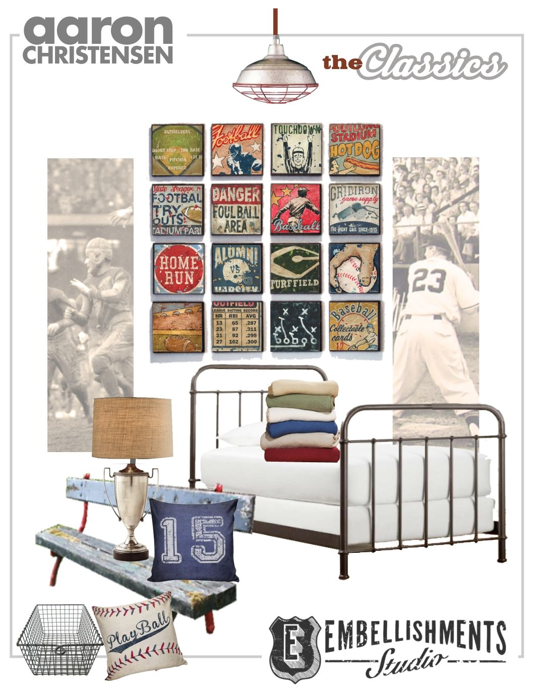 Baseball And Football Sports Decor Inspiration Mood Board Featuring Clic Furnishings Accessories Wall Art