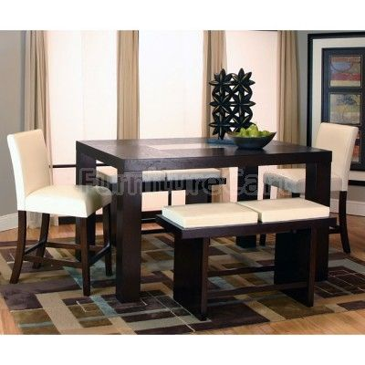 Kemper Rectangular Counter Height Dining Set W Ivory Chairs Muebles De Comedor Diseno De Mesa Hogar