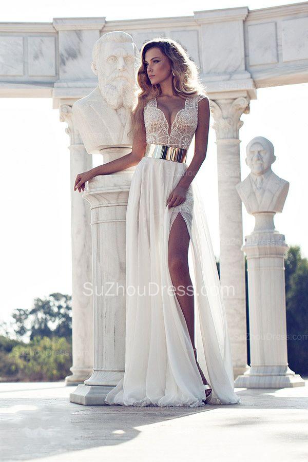 2015 Chiffon Prom Dresses V Neck Lace Appliques Split Front Golden ...
