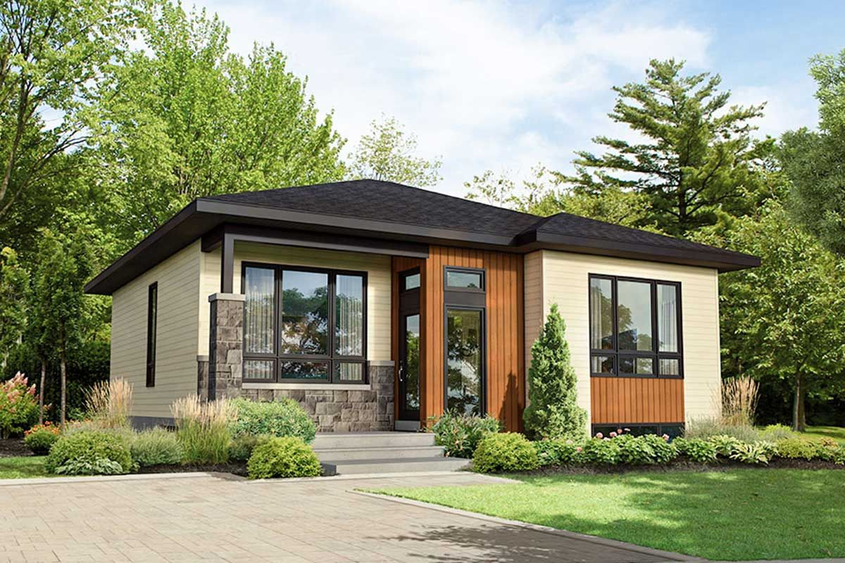 Plan 80933pm Simple 2 Bed Modern House Plan In 2021 Modern House Plan Contemporary House Plans House Exterior