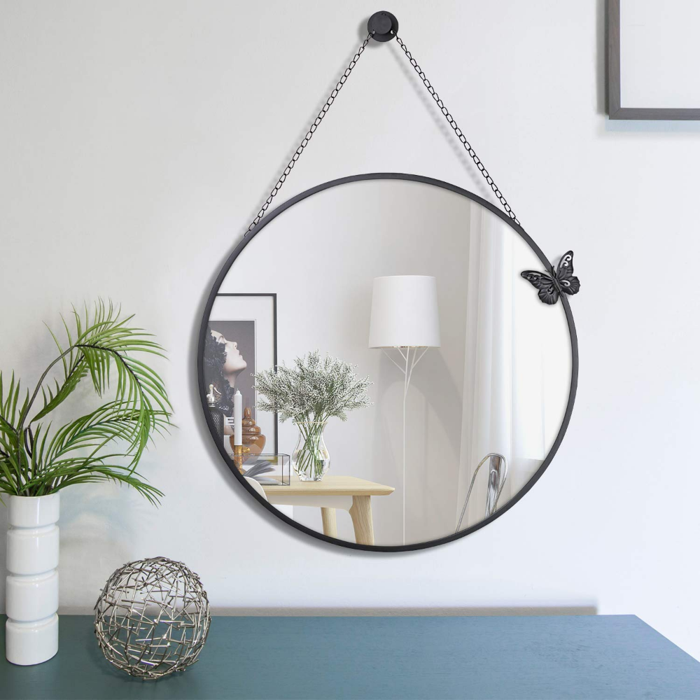 Amazonsmile Nugorise 23 6 Round Mirror Wall Mirror With Removable Hanging Chain Decorative Metal Framed Va Metal Decor Round Wall Mirror Metal Frame Mirror [ 1000 x 1000 Pixel ]