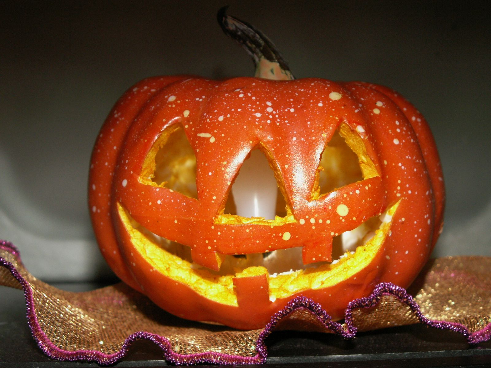 """Barbie-sized OOAK Jack-O-Lantern was hand carved by MiKelman for a dear friend in 2013. A battery-operated tea light flickers and adds an extra element of realism when Barbie """"lights"""" it up for Halloween Trick Or Treaters!"""