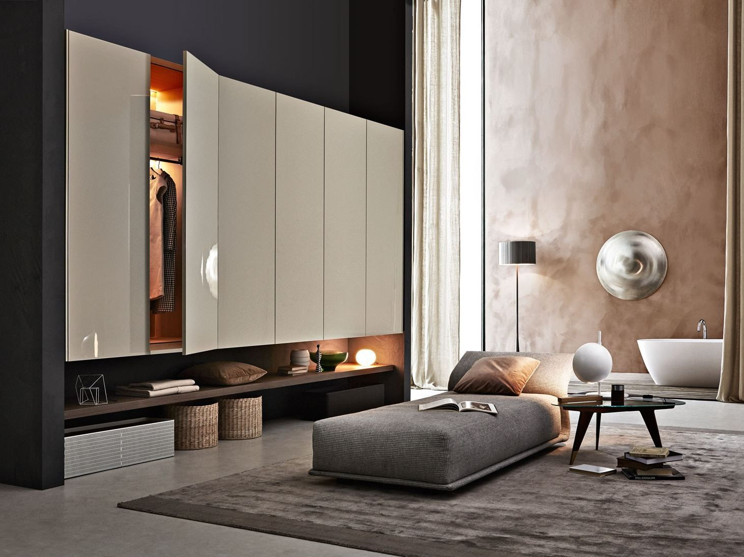Lacquered wardrobe with drawers GLISS-UP by MOLTENI & C. design ...