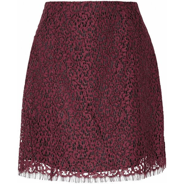 Carven Lace mini skirt (5.303.475 VND) ❤ liked on Polyvore featuring skirts, mini skirts, red, purple mini skirt, red lace skirt, purple skirt, red skirt and short mini skirts