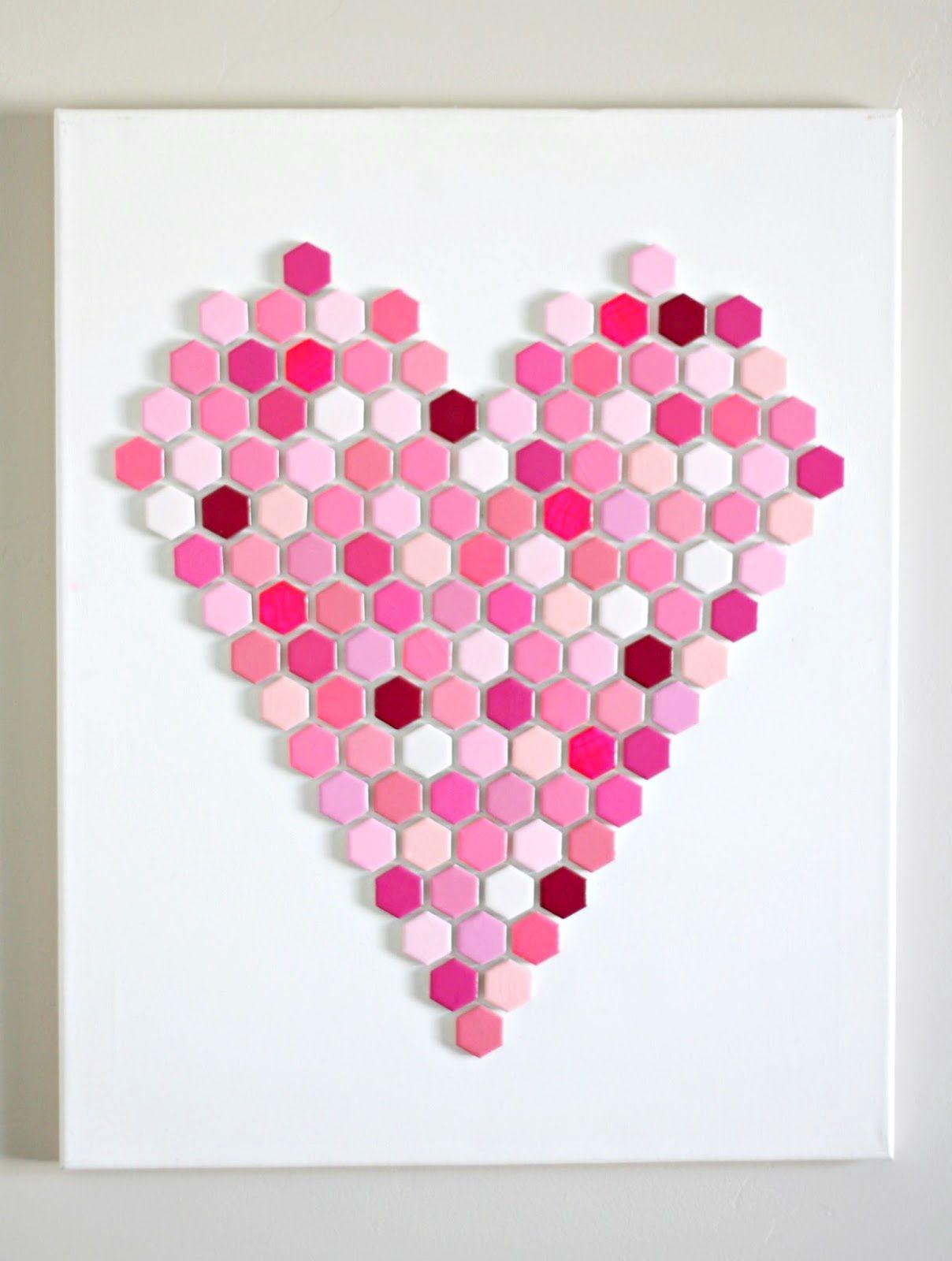 Heart Wall Art Made With Hexagon Tiles Hexagon Tiles Heart Wall Art Diy Tile