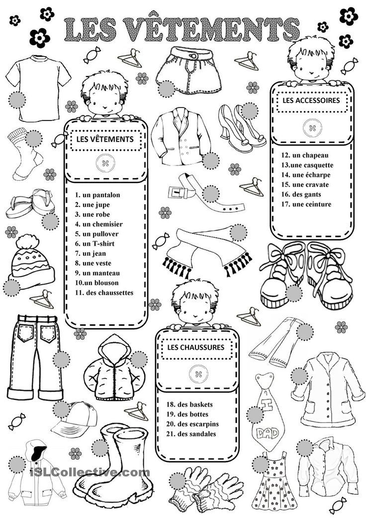 les v tements fsl french worksheets french classroom french language learning. Black Bedroom Furniture Sets. Home Design Ideas
