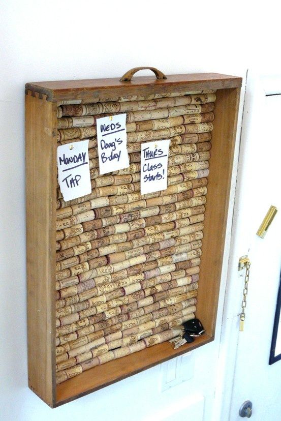 repurpose an old drawer and wine corks...great message board