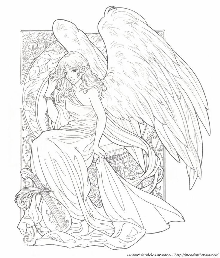Awesome Angel Coloring Pages For Adults Contemporary - Coloring 2018 ...